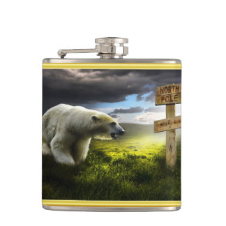 Polar bear looking at the north pole wooden sign hip flask