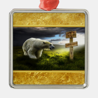 Polar bear looking at the north pole wooden sign metal ornament