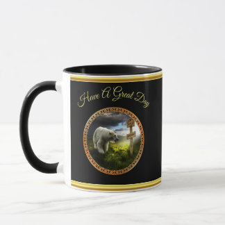 polar bear looking at the north pole wooden sign mug