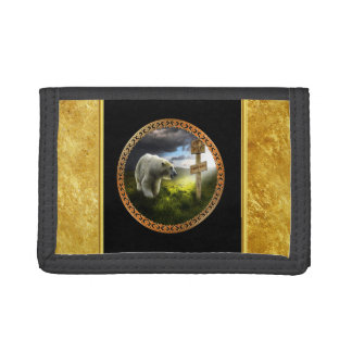 polar bear looking at the north pole wooden sign trifold wallet