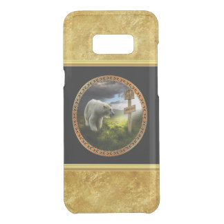 polar bear looking at the north pole wooden sign uncommon samsung galaxy s8 plus case