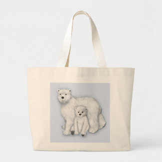 Polar Bear Mom and Cub. Large Tote Bag