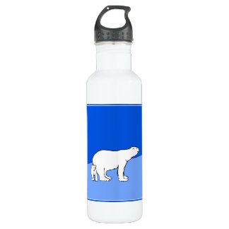 Polar Bear Mom and Cub Painting - Wildlife Art 710 Ml Water Bottle