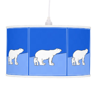 Polar Bear Mom and Cub Painting - Wildlife Art Pendant Lamp