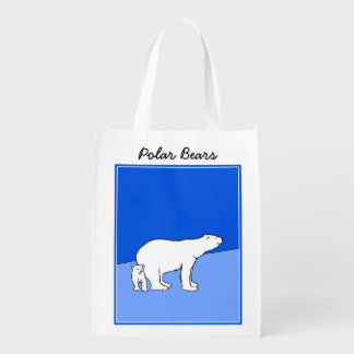 Polar Bear Mom and Cub Painting - Wildlife Art Reusable Grocery Bag