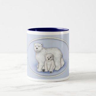 Polar Bear Mom and Cub. Two-Tone Coffee Mug