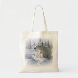 Polar bear mother and cub budget tote bag