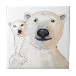 Polar Bear Mother with Child Playing Tile