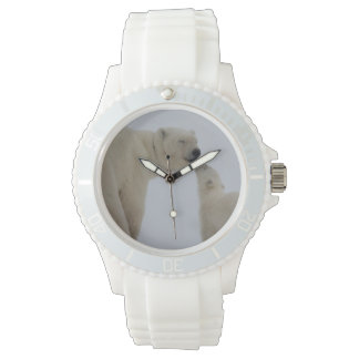 Polar Bear mother with cub Wrist Watches