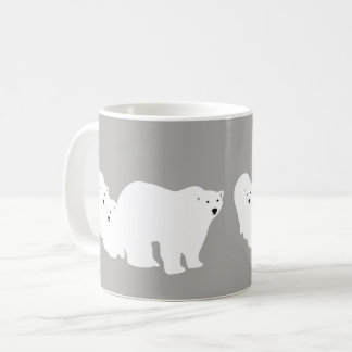 Polar Bear Mug Grey & White by Ambush Designs