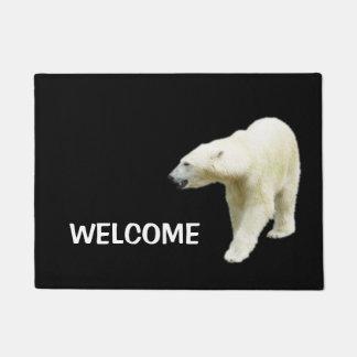 Polar Bear on Black Welcome Doormat