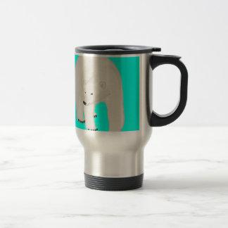 Polar Bear on Bright Turquoise Coffee Mug