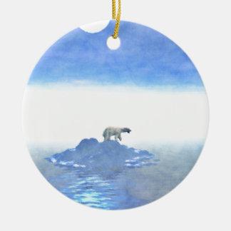 Polar Bear On Iceberg Round Ceramic Ornament