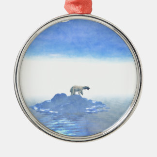 Polar Bear On Iceberg Silver-Colored Round Ornament