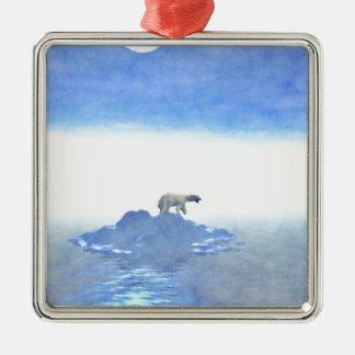 Polar Bear On Iceberg Silver-Colored Square Ornament