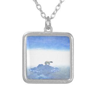 Polar Bear On Iceberg Silver Plated Necklace