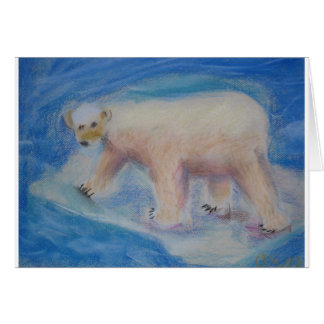 Polar bear on shrinking ice card