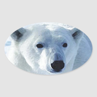 Polar Bear Oval Sticker