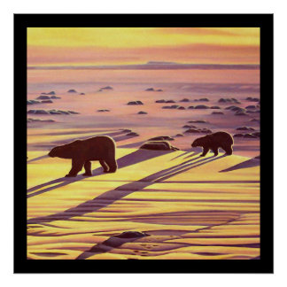 Polar Bear Painting Poster  Wildlife Home Decor