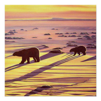 Polar Bear Painting Prints Sunset Bear Art Poster
