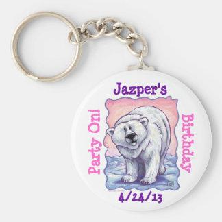 Polar Bear Party Center Basic Round Button Keychain