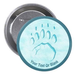 Polar Bear Paw Print 3 Inch Round Button