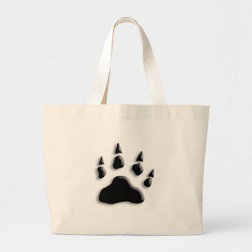 Polar Bear Paw Print Canvas Bag