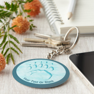Polar Bear Paw Print Basic Round Button Keychain
