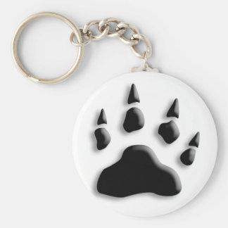 Polar Bear Paw Print Basic Round Button Keychain