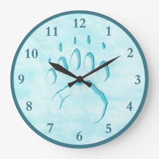 Polar Bear Paw Print Large Clock