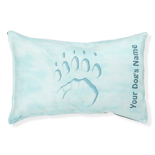 Polar Bear Paw Print Pet Bed