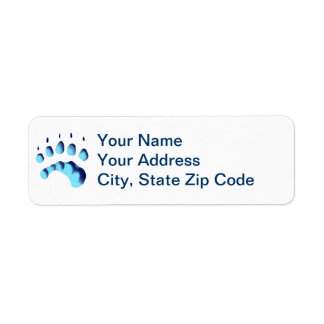 Polar Bear Paw Print Return Address Label