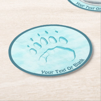 Polar Bear Paw Print Round Paper Coaster