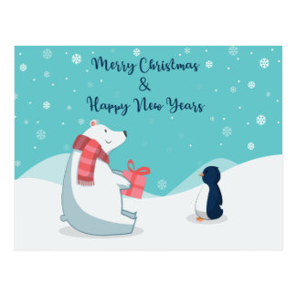 Polar Bear & Penguin! Postcard