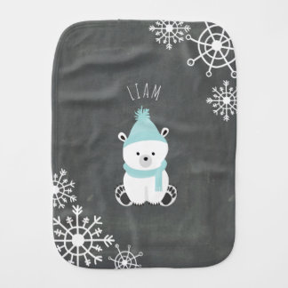 Polar Bear Personalized Baby Burp Cloth - Bear