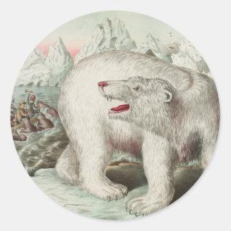 Polar Bear Poster Round Sticker