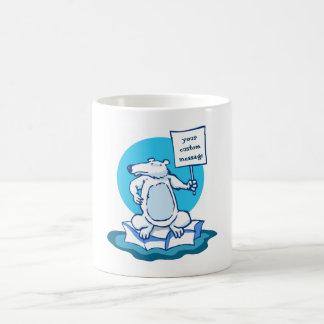 polar bear protest global warming funny cartoon coffee mug