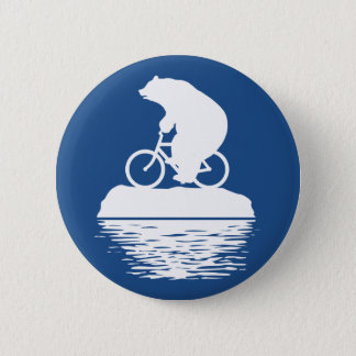 Polar Bear Riding Bicycle on Iceberg Button