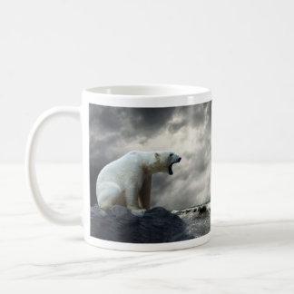 Polar Bear Roaring Basic White Mug