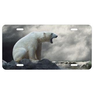 Polar Bear Roaring License Plate