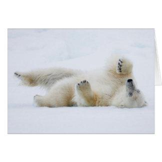 Polar bear rolling in snow, Norway Card