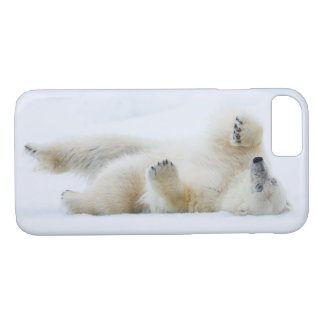 Polar bear rolling in snow, Norway iPhone 8/7 Case