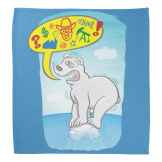 Polar bear saying bad words standing on tiny ice bandana