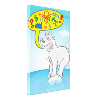 Polar bear saying bad words standing on tiny ice canvas print