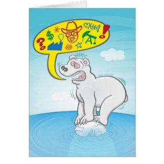 Polar bear saying bad words standing on tiny ice card