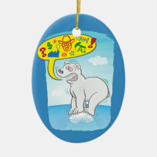 Polar bear saying bad words standing on tiny ice ceramic ornament