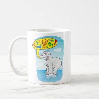 Polar bear saying bad words standing on tiny ice coffee mug