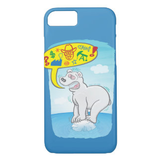 Polar bear saying bad words standing on tiny ice iPhone 8/7 case