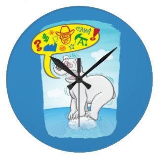 Polar bear saying bad words standing on tiny ice large clock