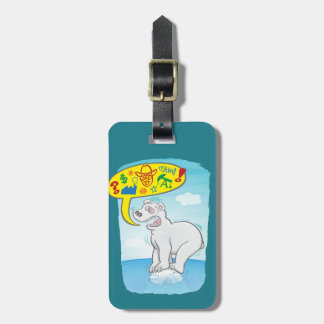 Polar bear saying bad words standing on tiny ice luggage tag